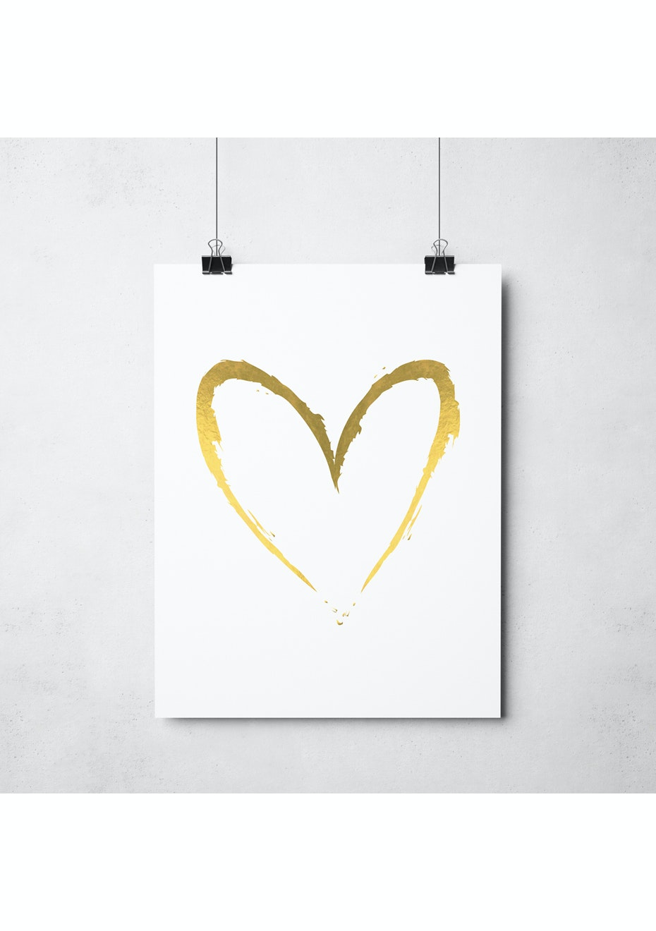 Simply Creative - White Heart - A3 Gold Foil Print