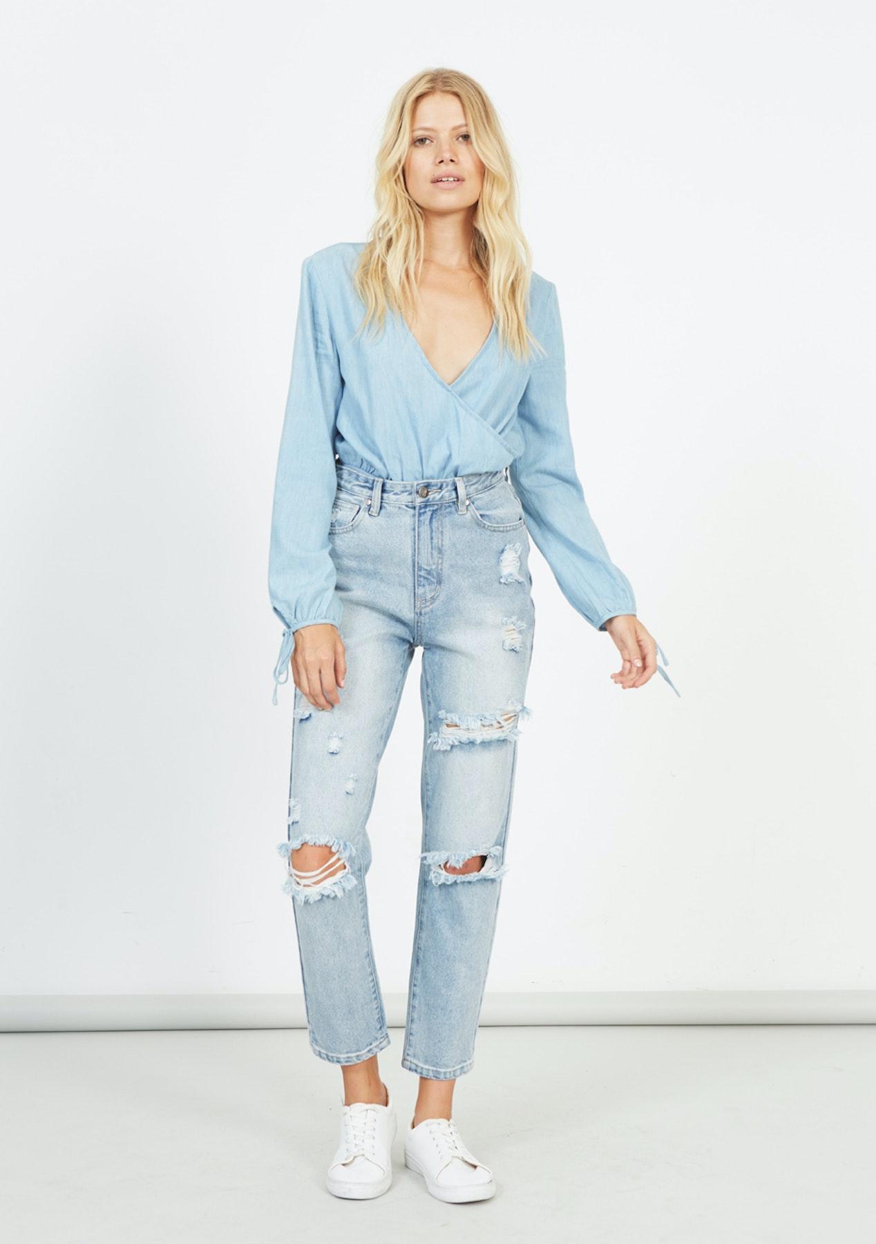 708a3551b0 Minkpink - Ava Chambray Blouse Bodysuit - Light Blue - Minkpink - Onceit