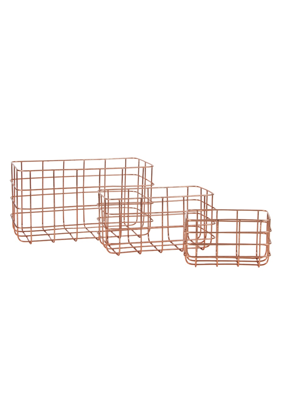 General Eclectic - Minimal Basket Copper Set of 3