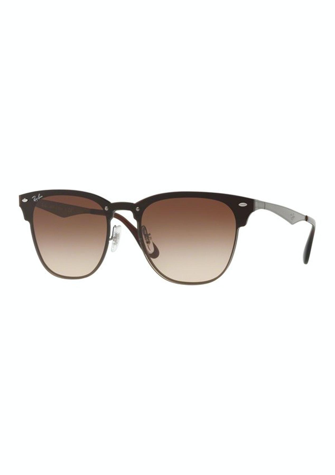 d270b6dcb3 Ray-Ban Blaze Clubmaster Gunmetal Brown Sunglasses - Eyewear Outlet - Onceit
