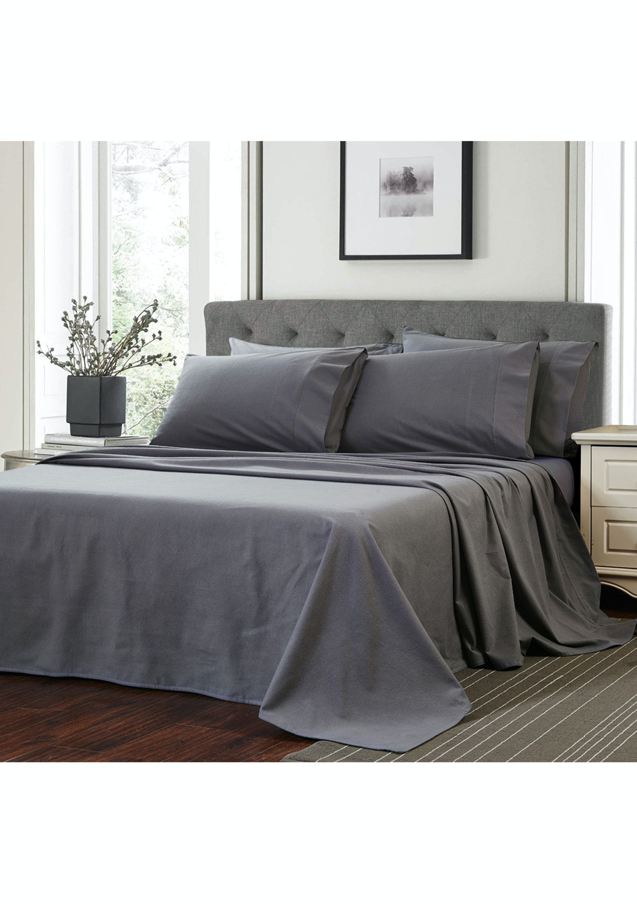 Linens More Flannelette Queen Sheet Set Charcoal Linens