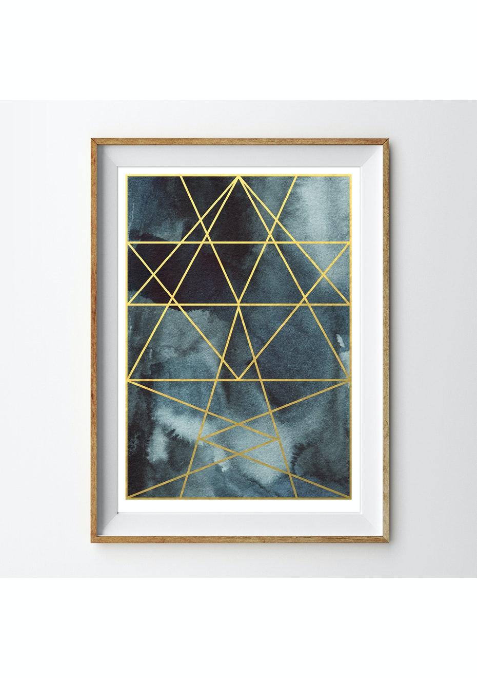 Simply Creative - Aquamarine - A3 Gold Foil Print