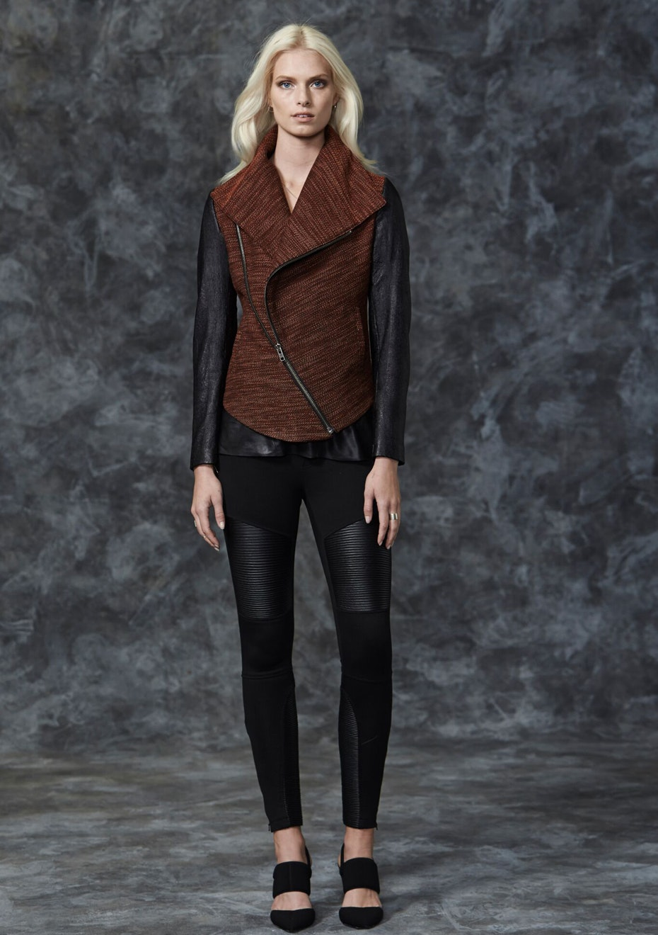 West 14th - Nolita Drape Jacket - Mix Material  - Andean Orange & Black Leather
