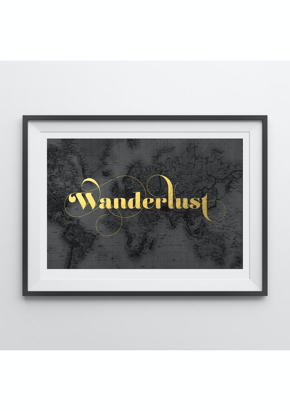 Simply Creative - Wanderlust - A4 Gold Foil Print