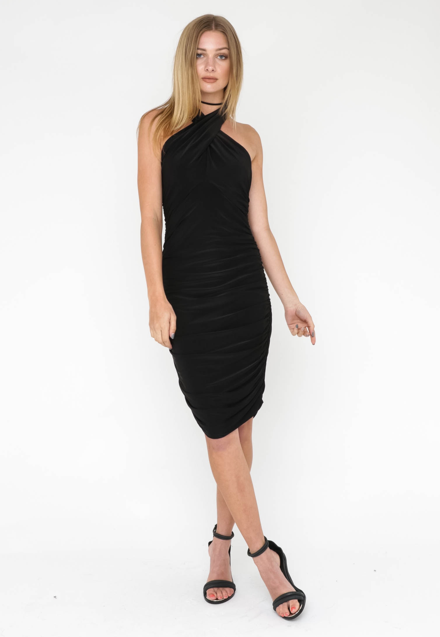 High Neck Body Con Dress - Black