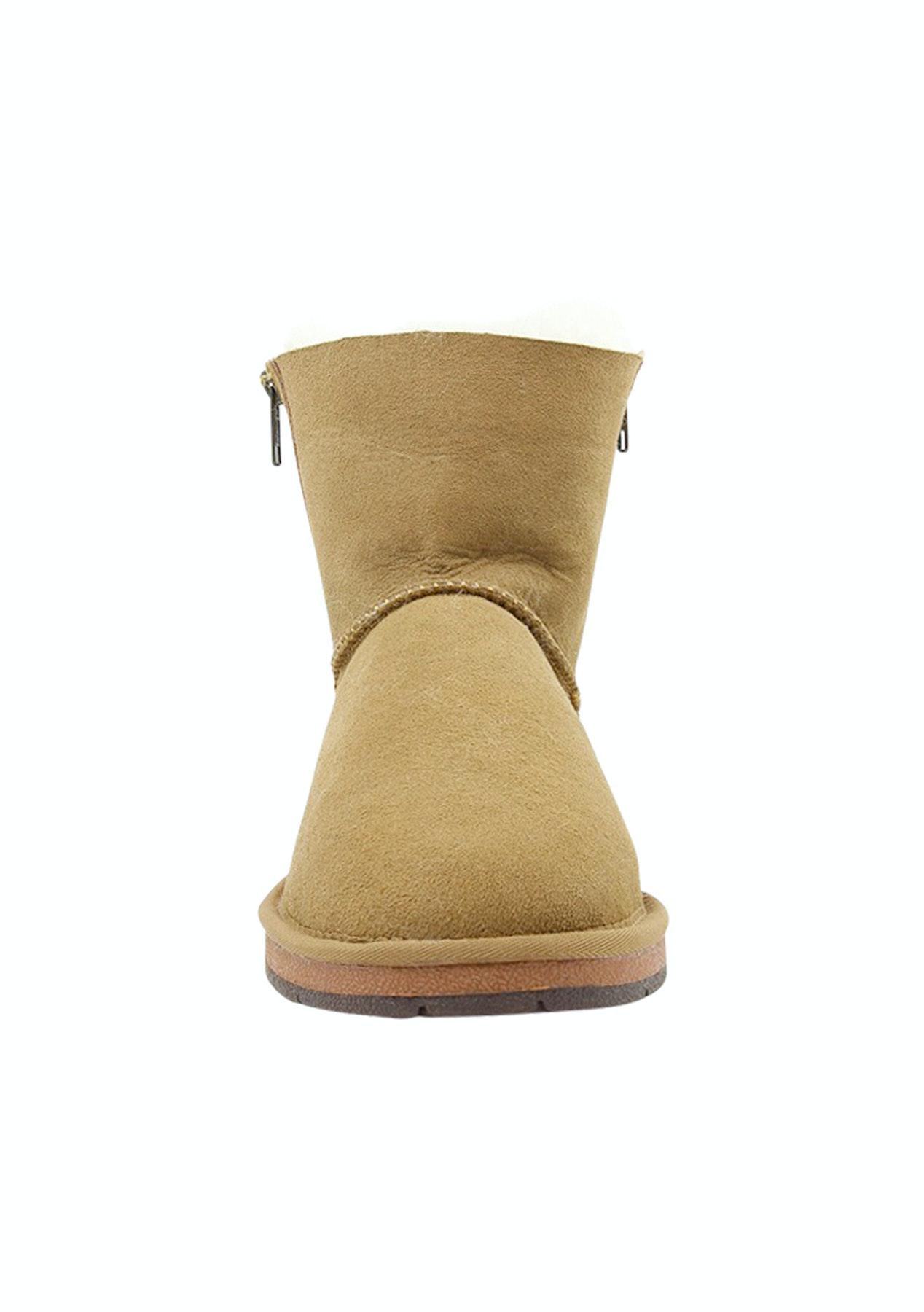 07d5d7ba374 Auzland Ugg Ankle Twin Zip Sheepskin Boots Berna Chestnut Women's