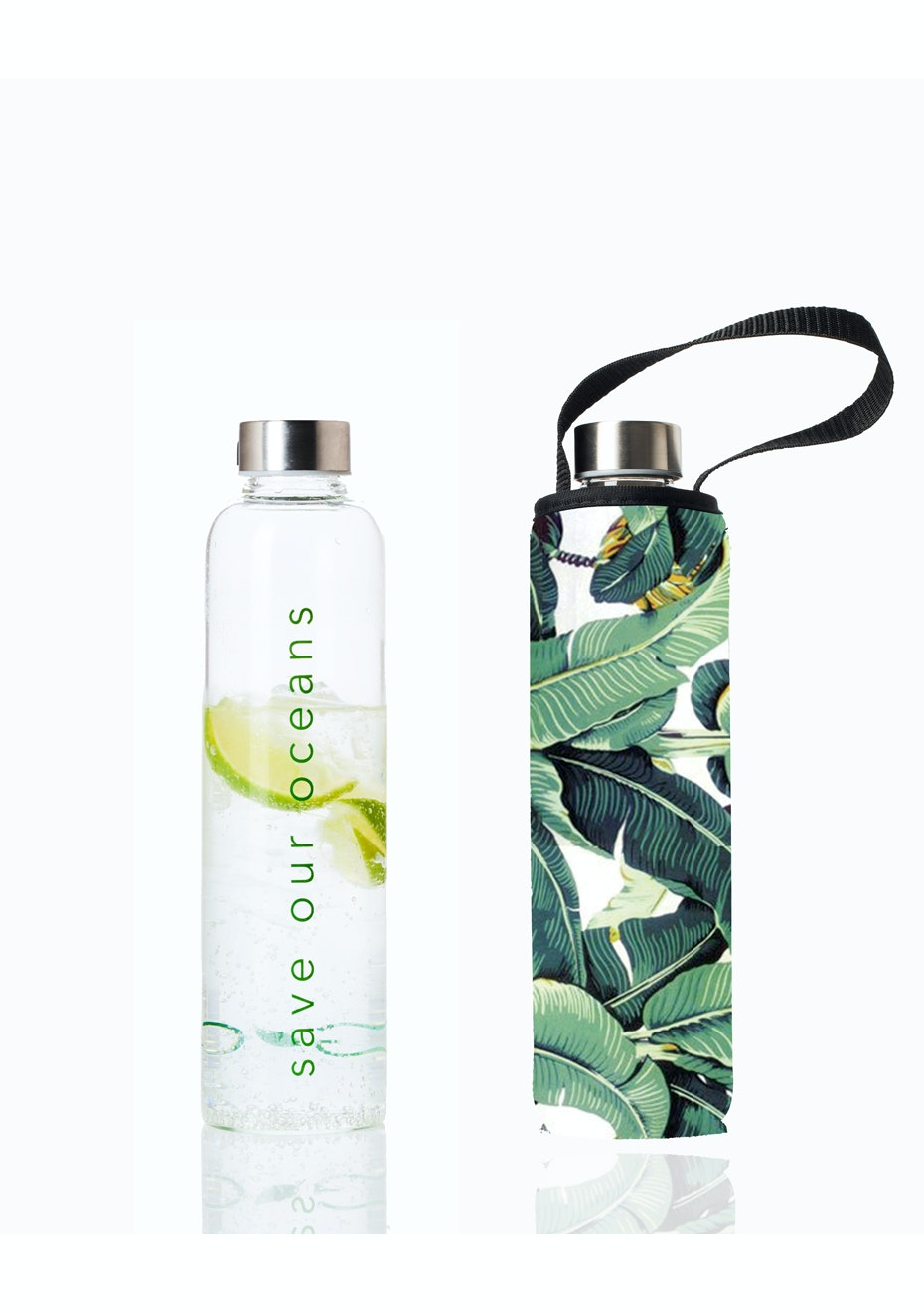 BBBYO - Glass Is Greener Bottle 750 ml + Carry Cover (Banana Print) -750 ml