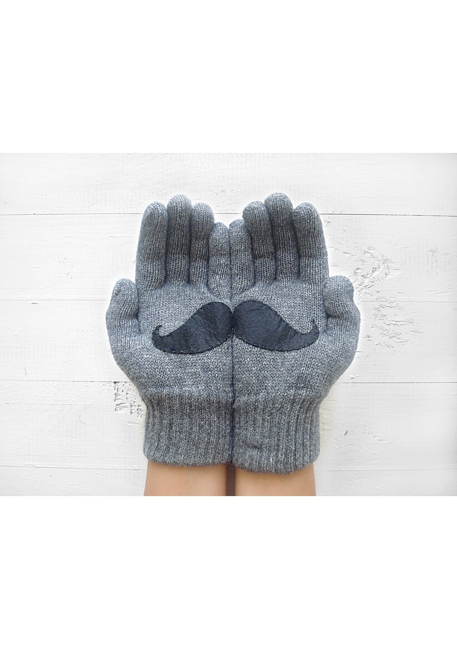 Moustache Gloves - Grey