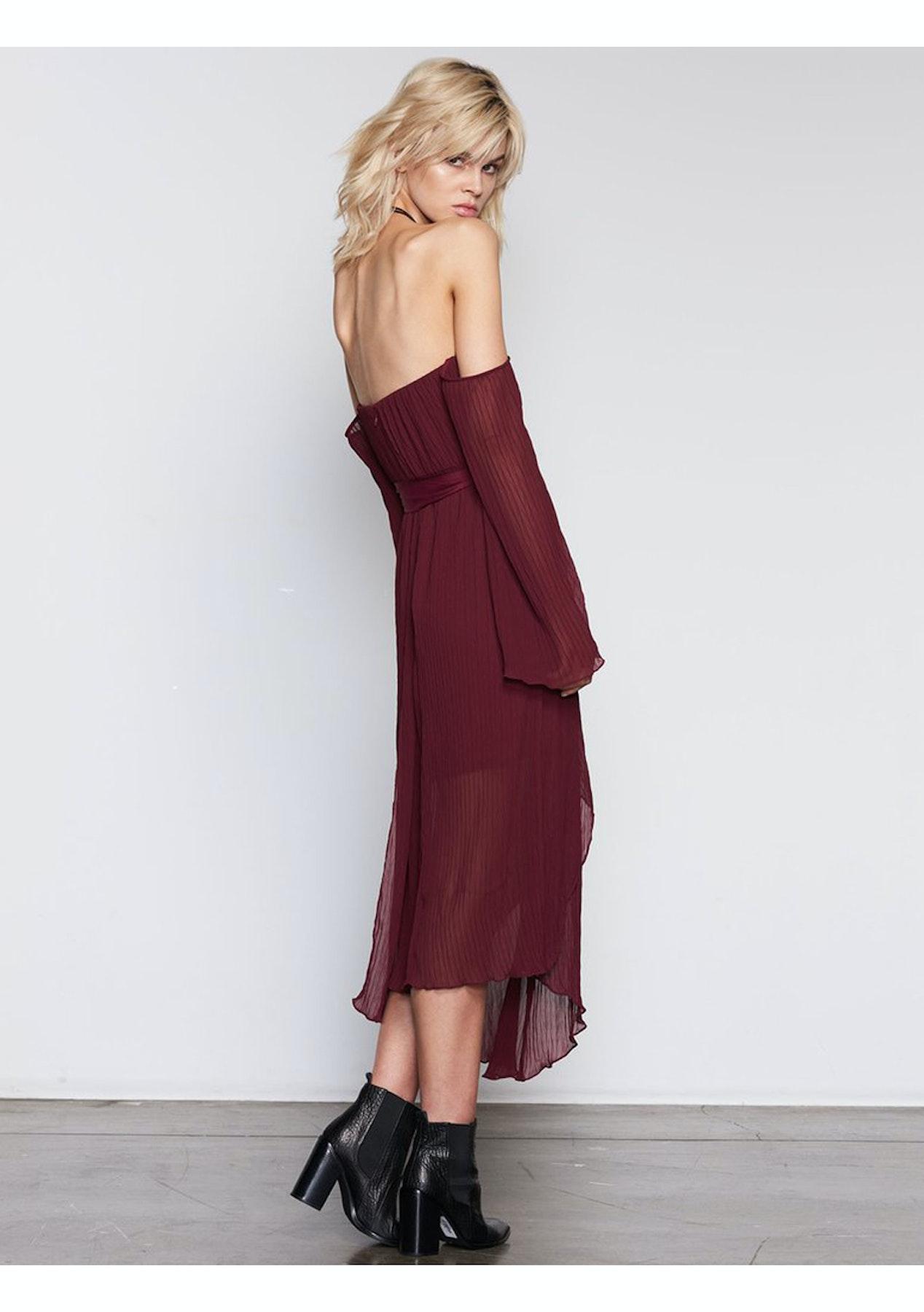 3515bdfd2e35 ISLA - Ethereal Midi Dress - Burgundy - Designer Garage Sale - Onceit