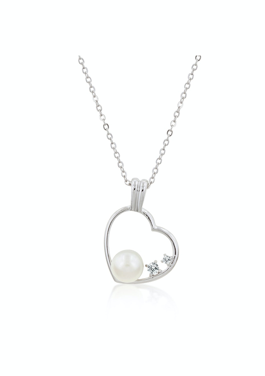 Heart Pend Chain set w CZ and faux pearl
