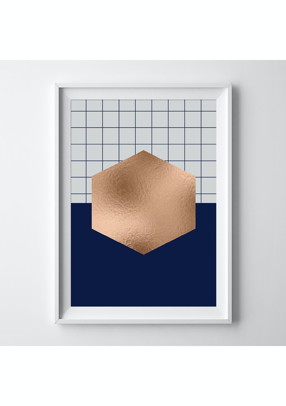Simply Creative - Navy Hexagon - A3 Copper Foil Print