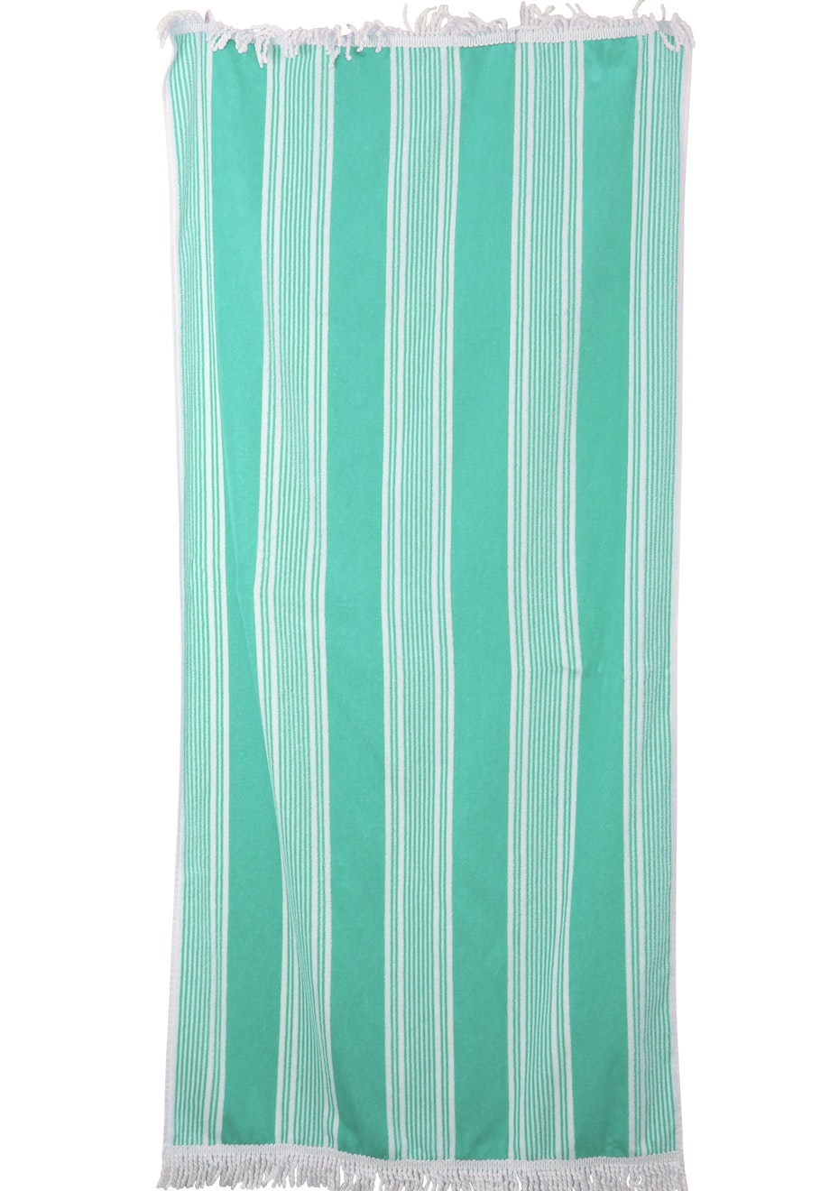 100% Cotton Velour Dobby Beach Towels with Fringe - 80x160cm - 440GSM - Mint