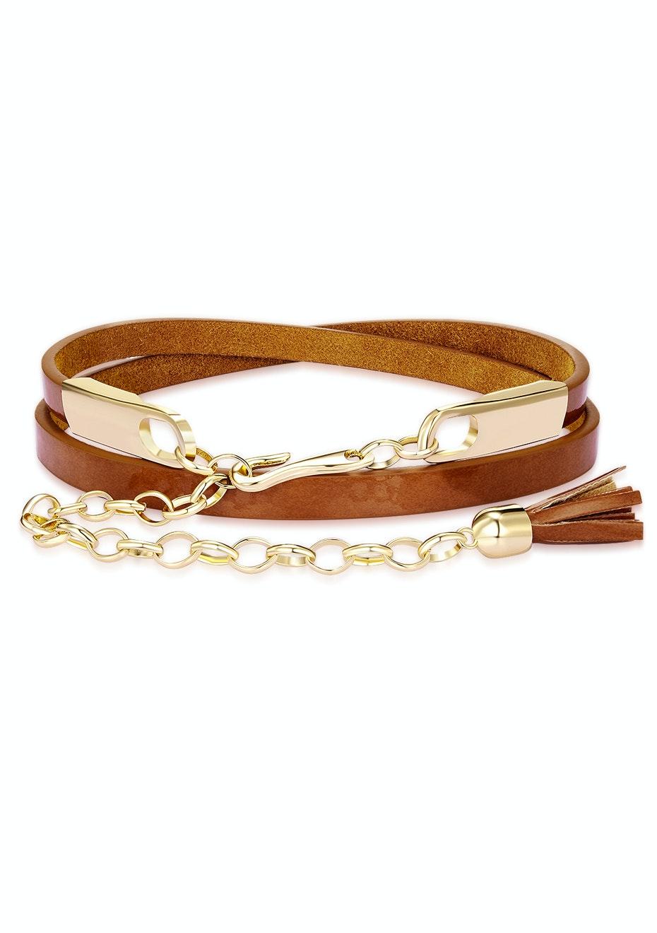 Genuine Cow Leather Skinny Waist Belt-Jasmine brown