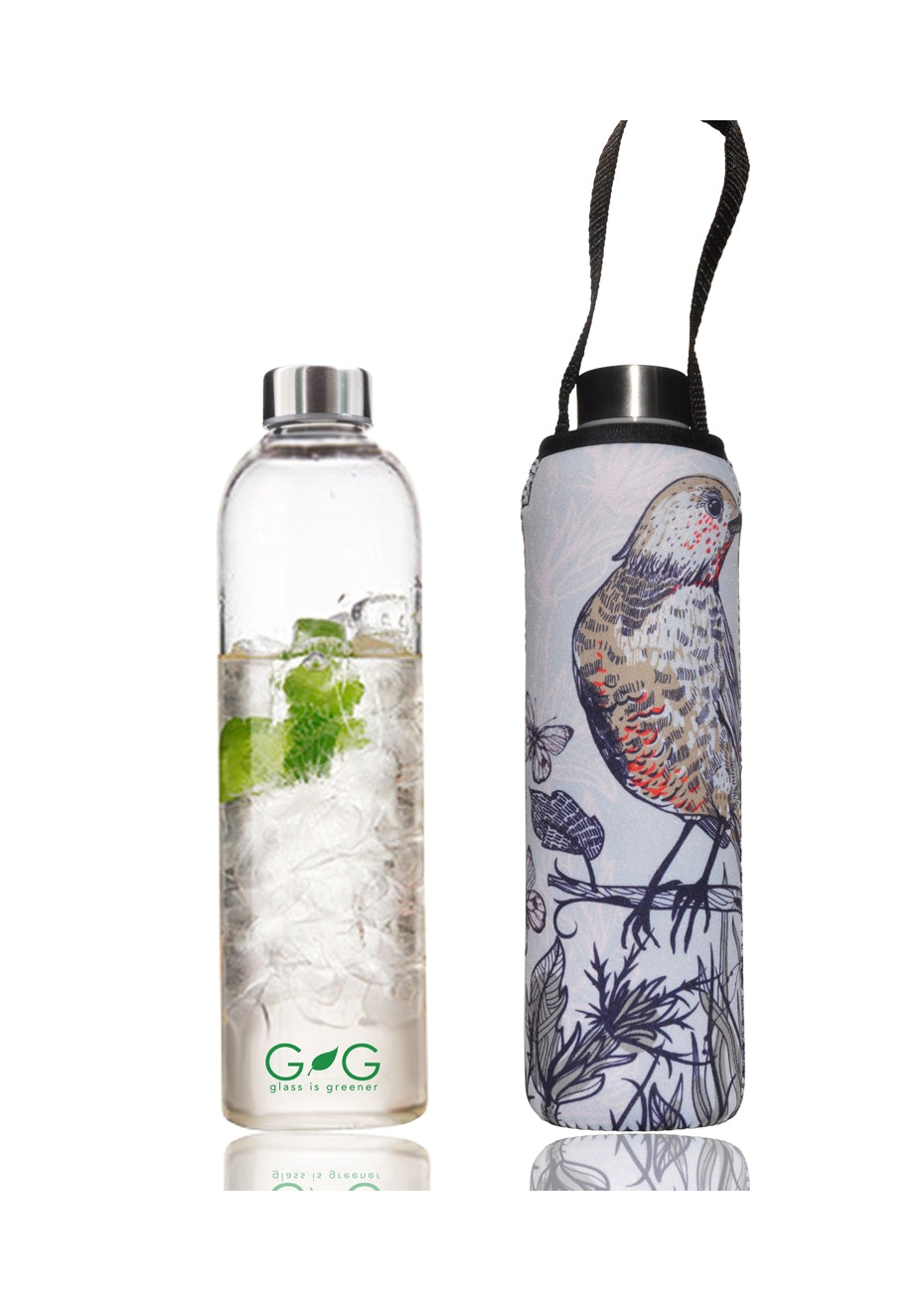 BBBYO - Glass Is Greener Bottle 750 ml + Carry Cover (Perch Print) -750 ml