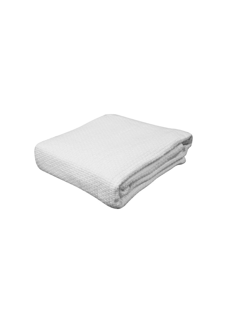 Pebble Weave Cotton Blanket - White - Cot