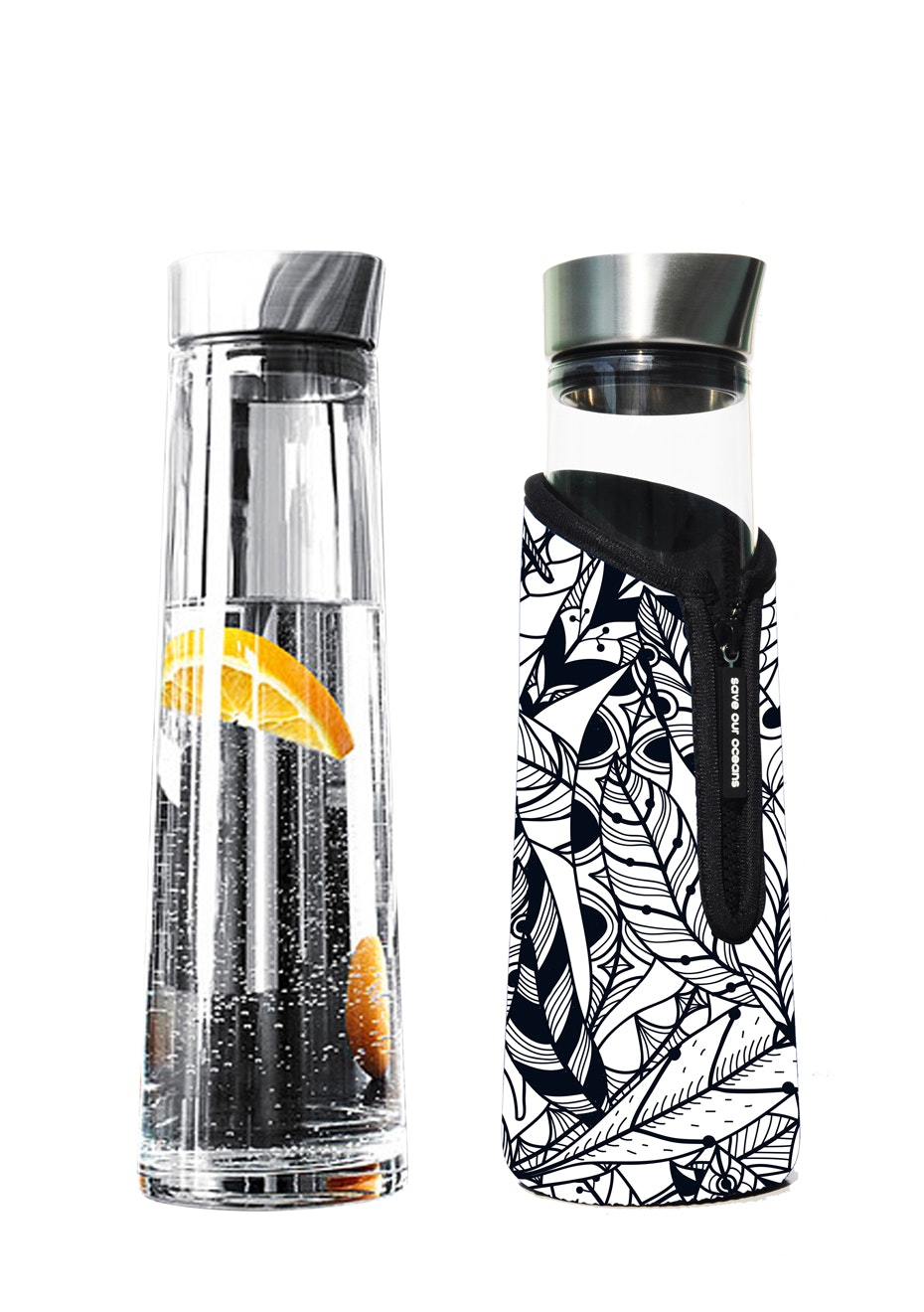 BBBYO - Glass is Greener Carafe 1000 ml + Snug Cover - Feather Print