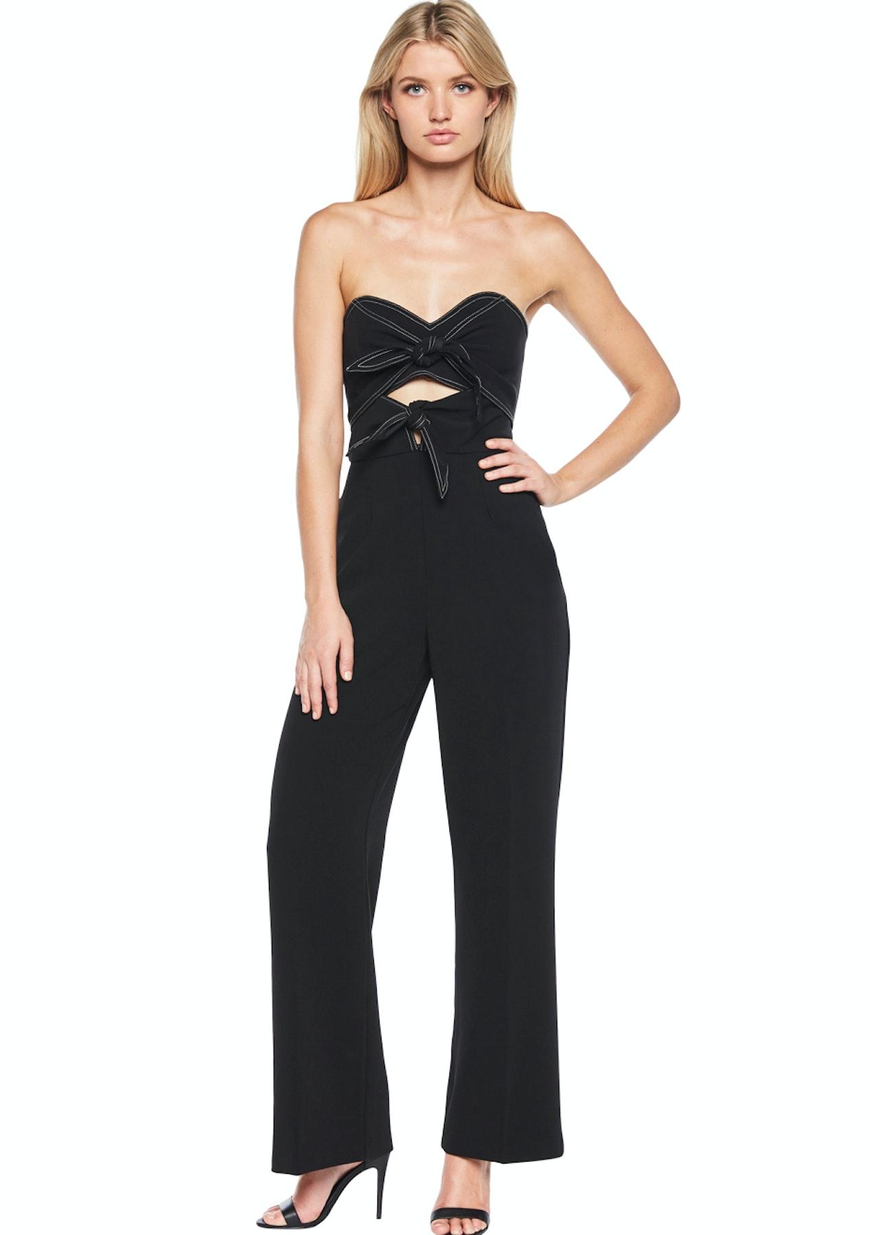 93df2e4ee00 Bardot - Twin Bow Jumpsuit - Black - Designer Garage Sale - Onceit