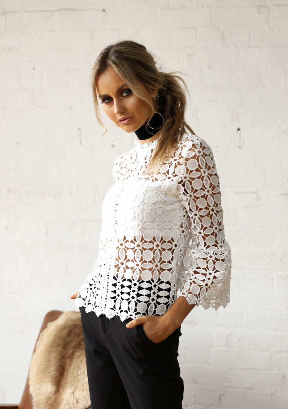 Madison - SERENADE LACE TOP - WHITE