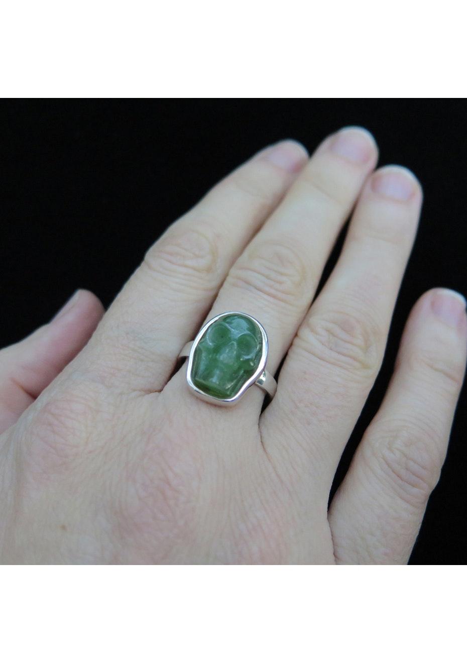 Nick Von K - NZ Greenstone Skull ring Small