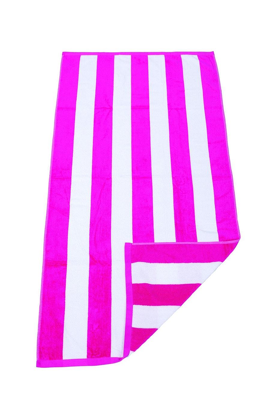 Havana Stripe Beach Towel Hot Pink/White