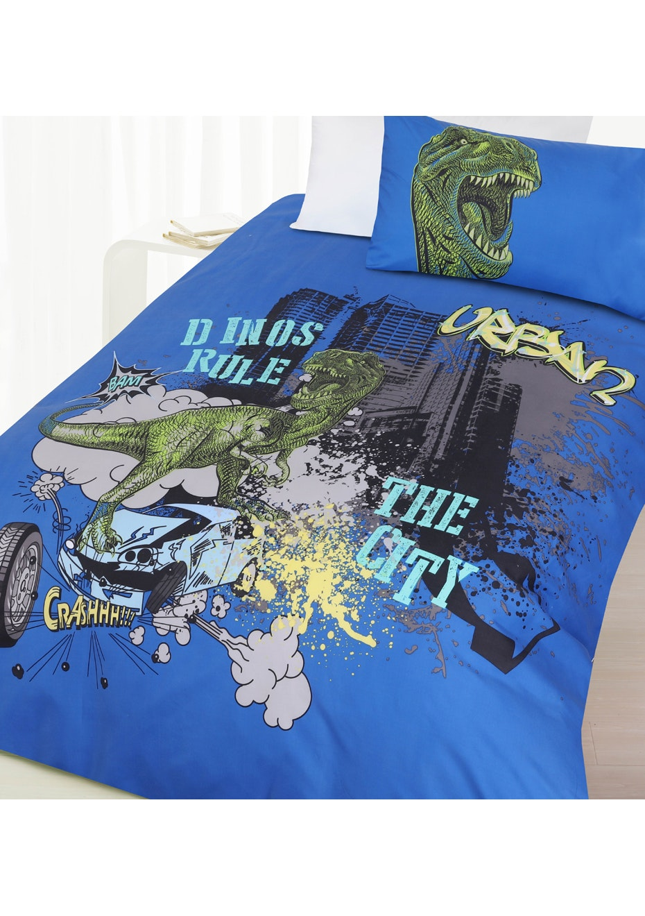 Dino City Glow in the Dark Quilt Cover Set - Double Bed