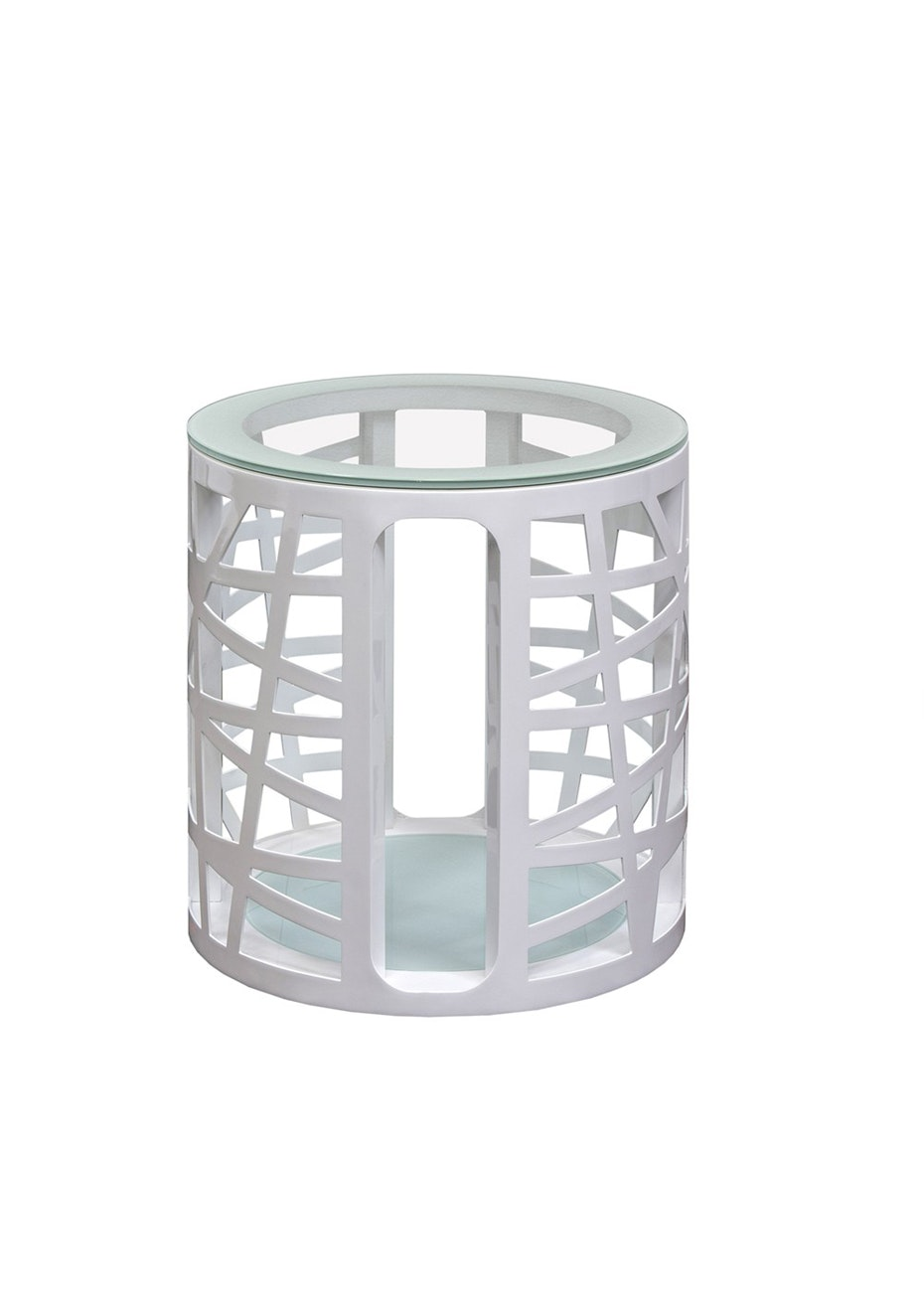 FbD - Cage White Lamp Table w/glass Top  - White Metal and Glass