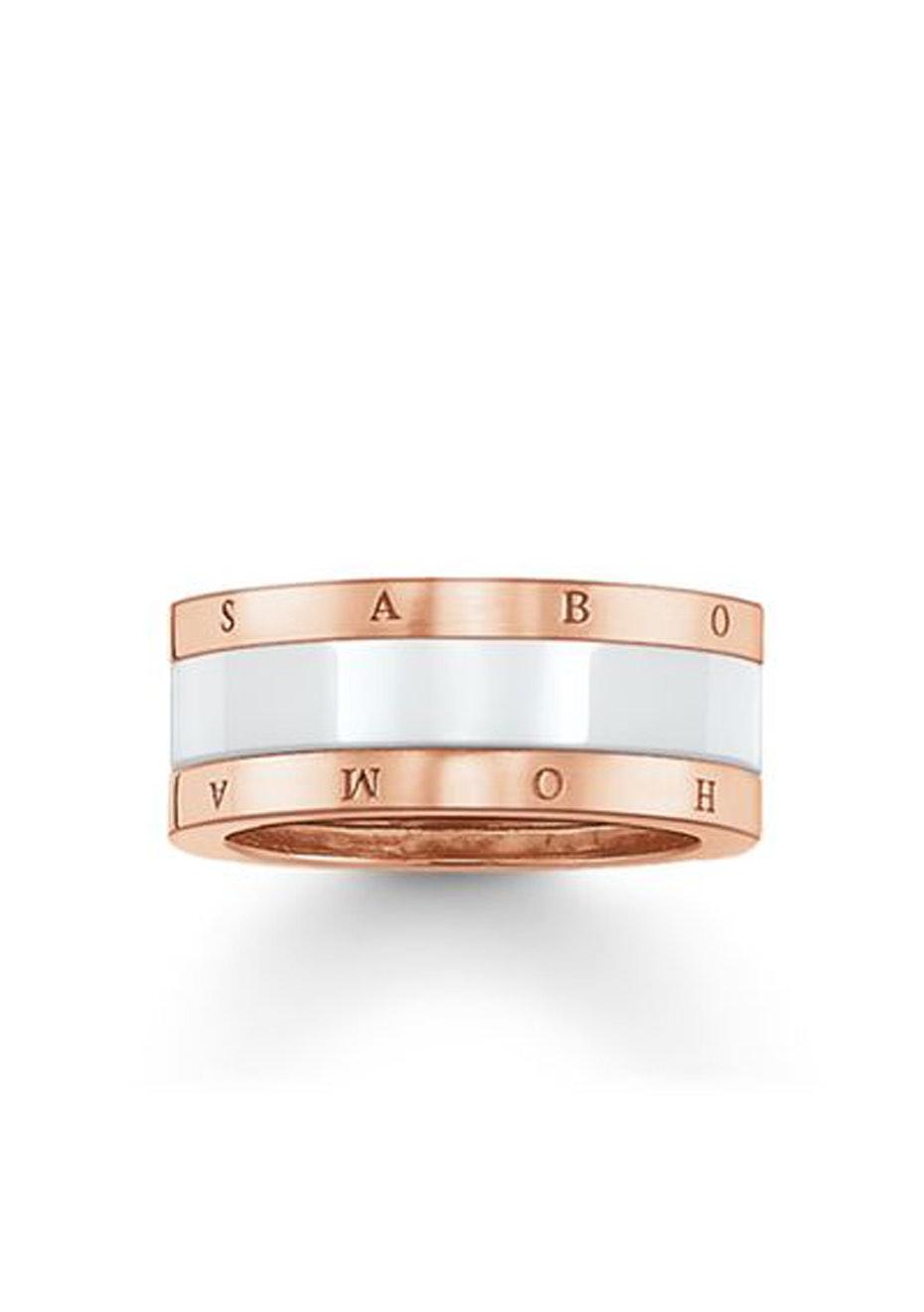 Thomas Sabo  - White Ceramic & Rose Gold Plated Ring