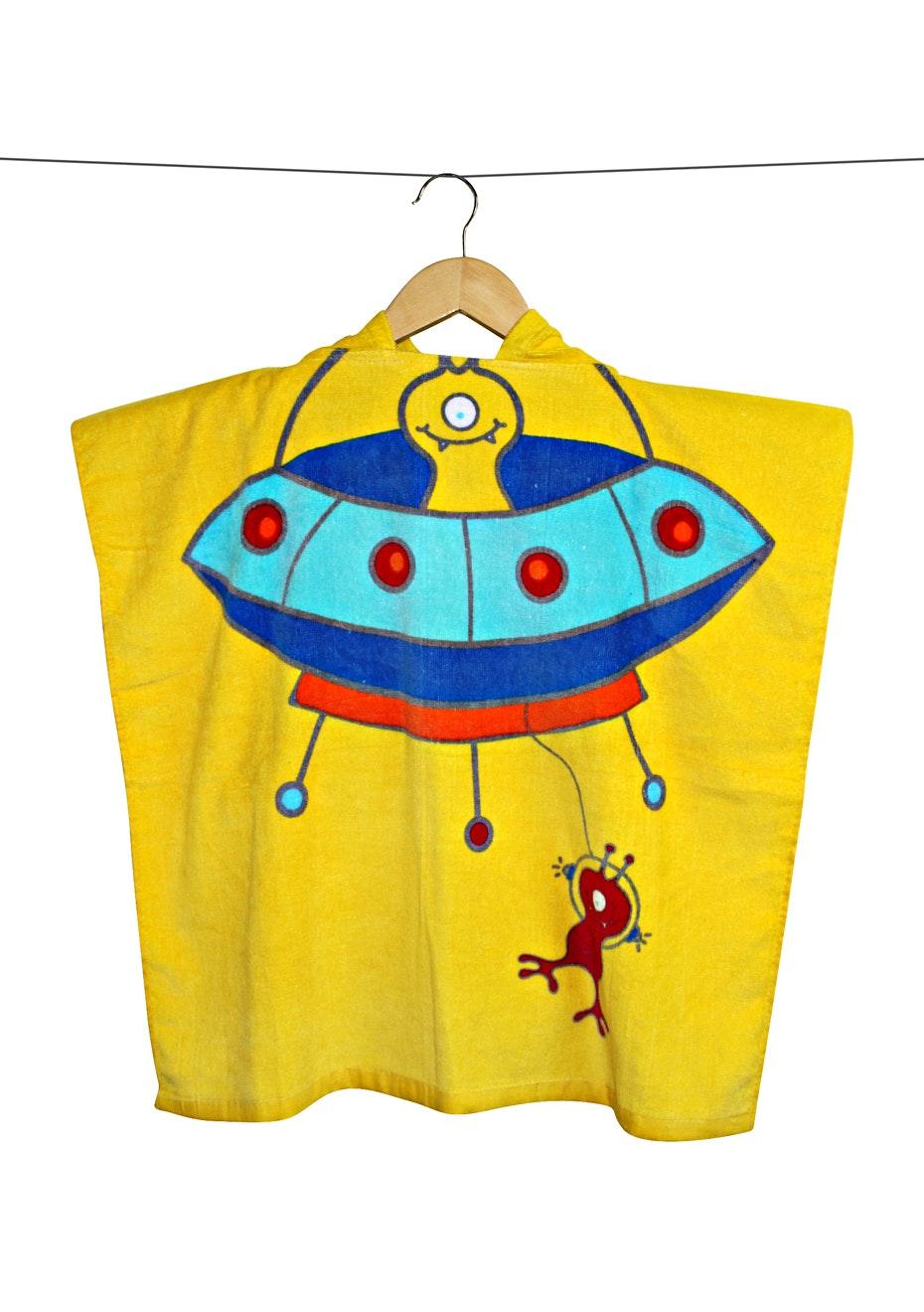 100% Cotton Kids Poncho 60x120cm Neck Size 5.5cm - Alien
