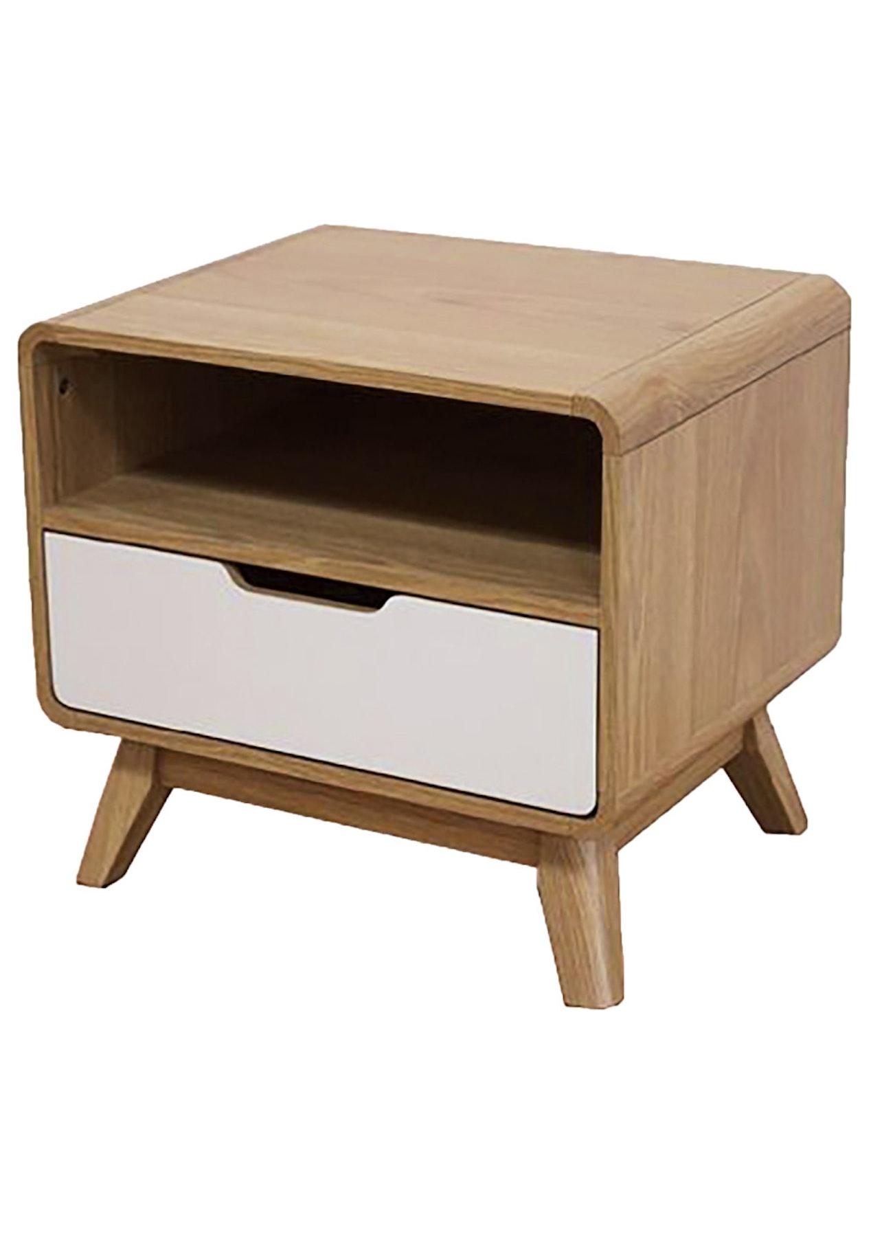 retro bedside table oak white scandi inspired. Black Bedroom Furniture Sets. Home Design Ideas