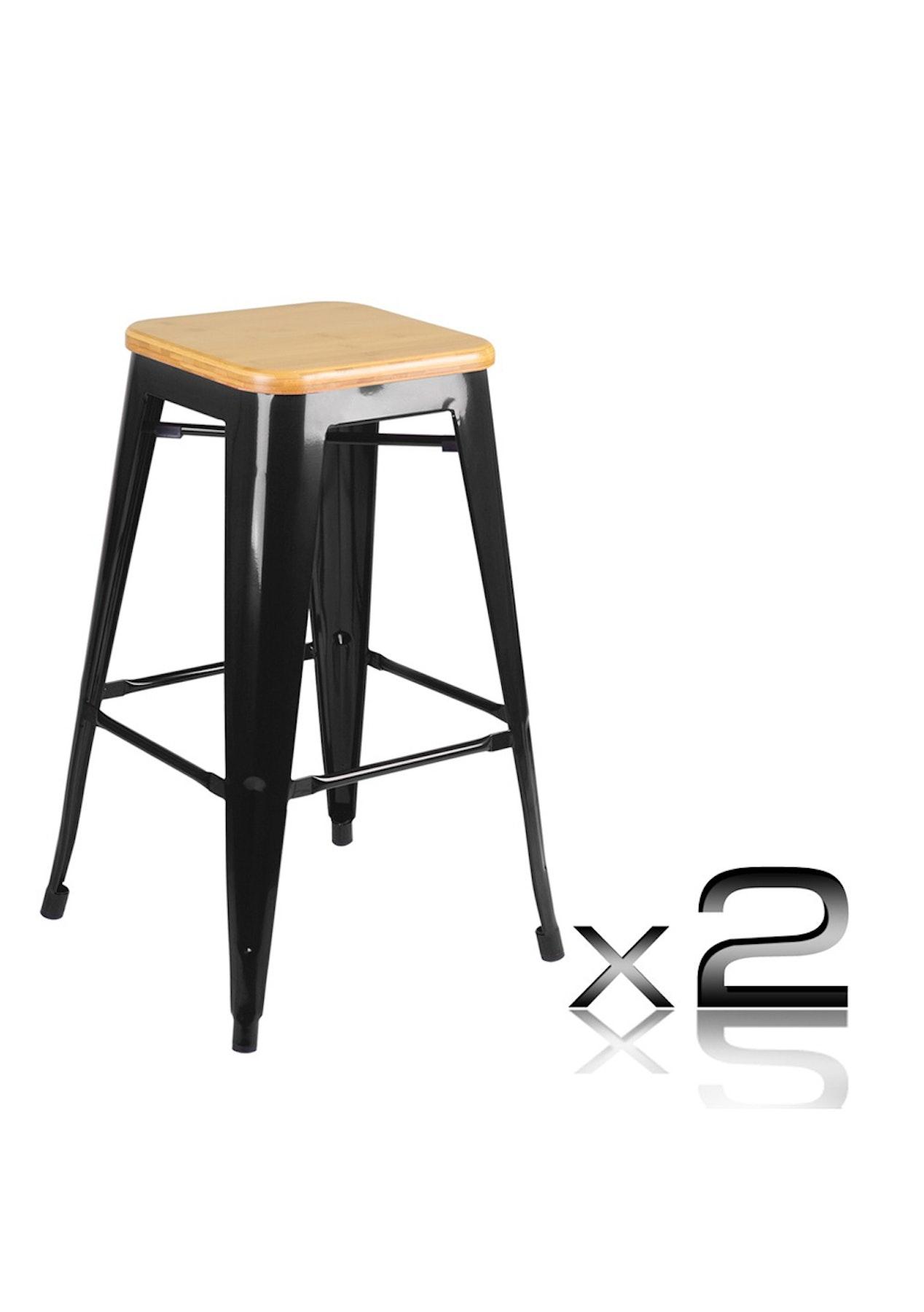 Set of 2 - Replica Tolix Bar Stool - 66cm Black