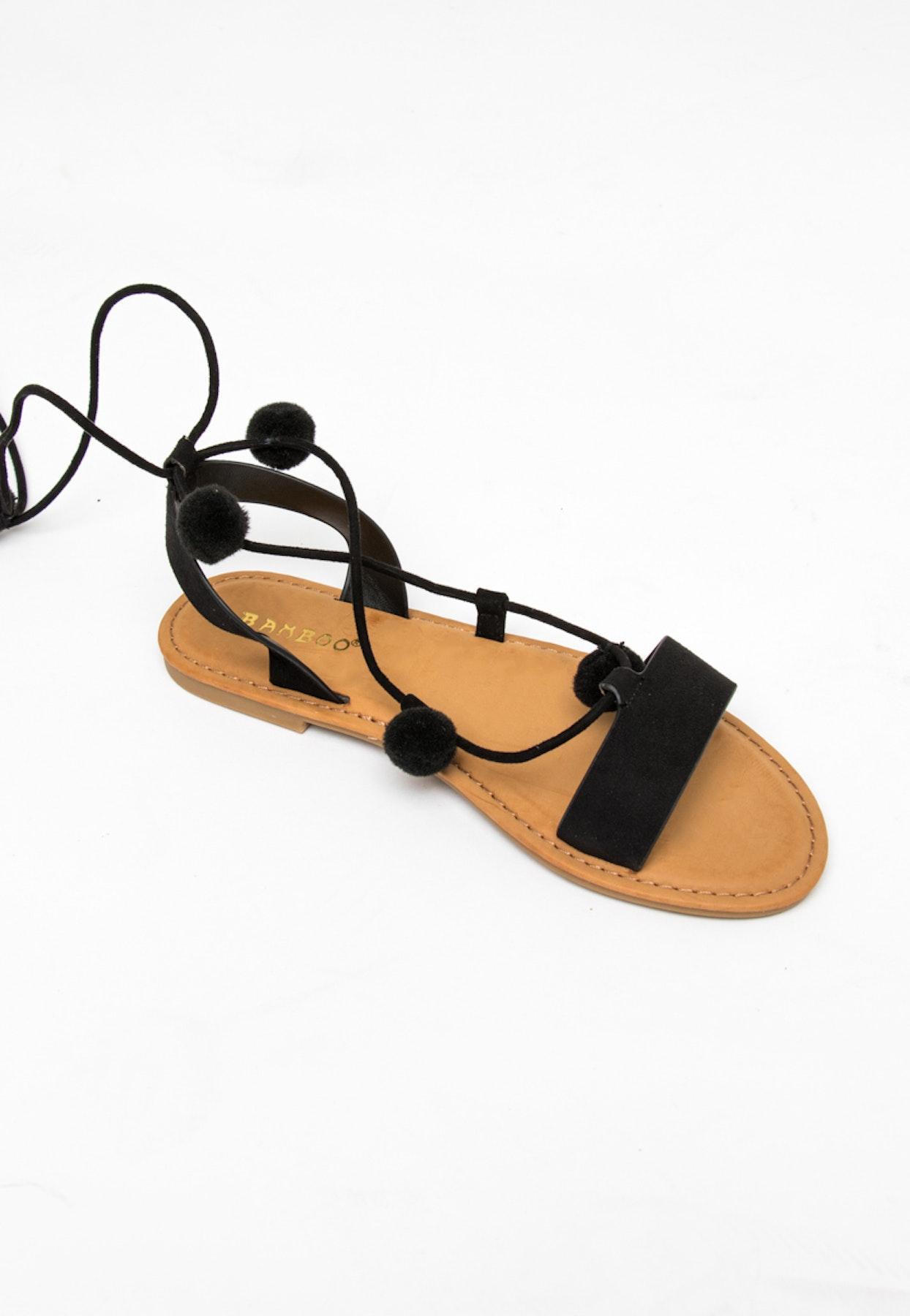 4d6a1e3f6bd0 Wrap Pom Pom Sandals - Black - Shoe   Accessory Garage Sale - Onceit