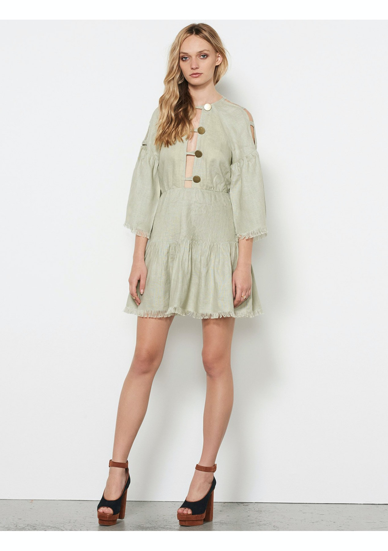 fcea690575 STEVIE MAY - Castello Linen Mini Dress - Sage - The East Order ...