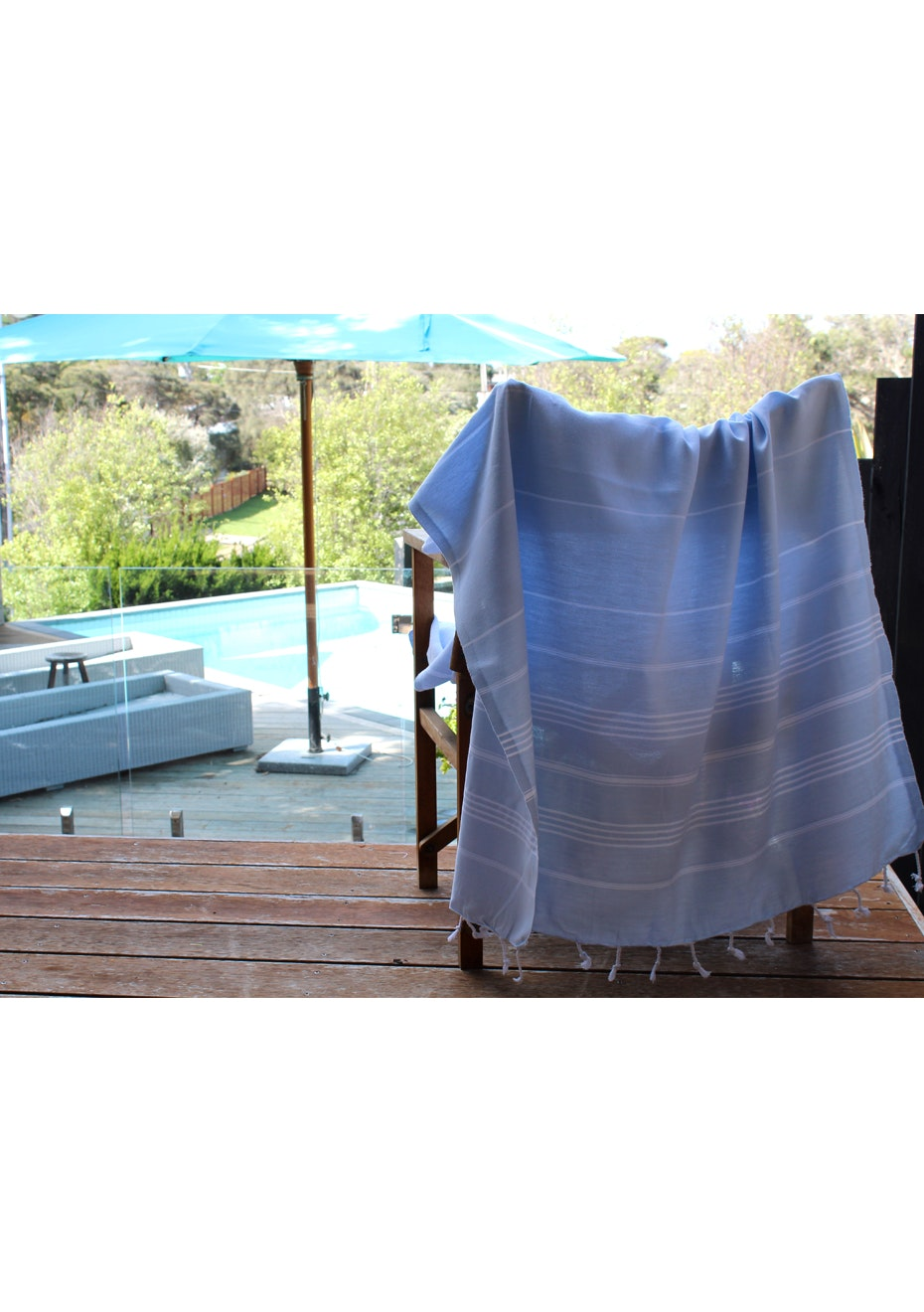 De La Mer Light Blue Turkish Towel