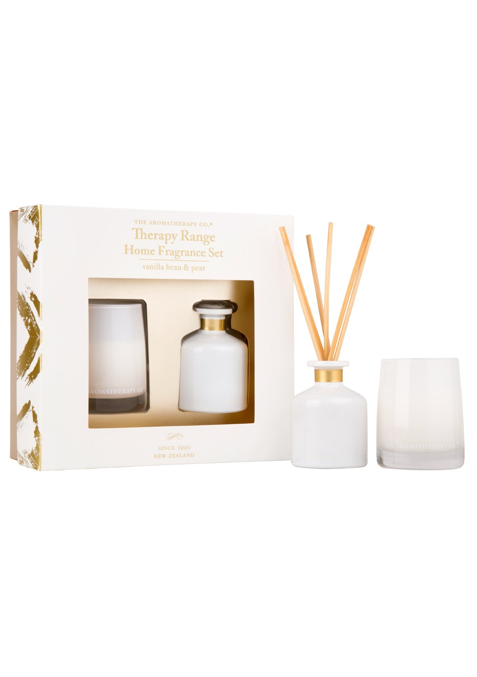 The Aromatherapy Co.  Therapy Limited Edition - Home Fragrance Diffuser and Candle Set  - Vanillla Bean & Pear - 60g
