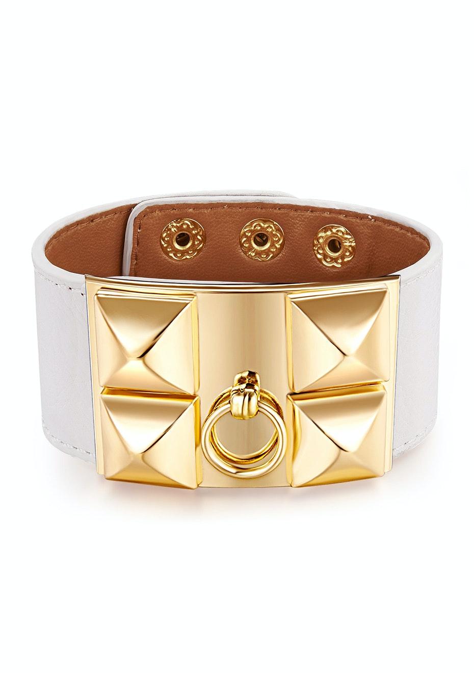 Genuine Cow Leather Studded Bracelet -WHT