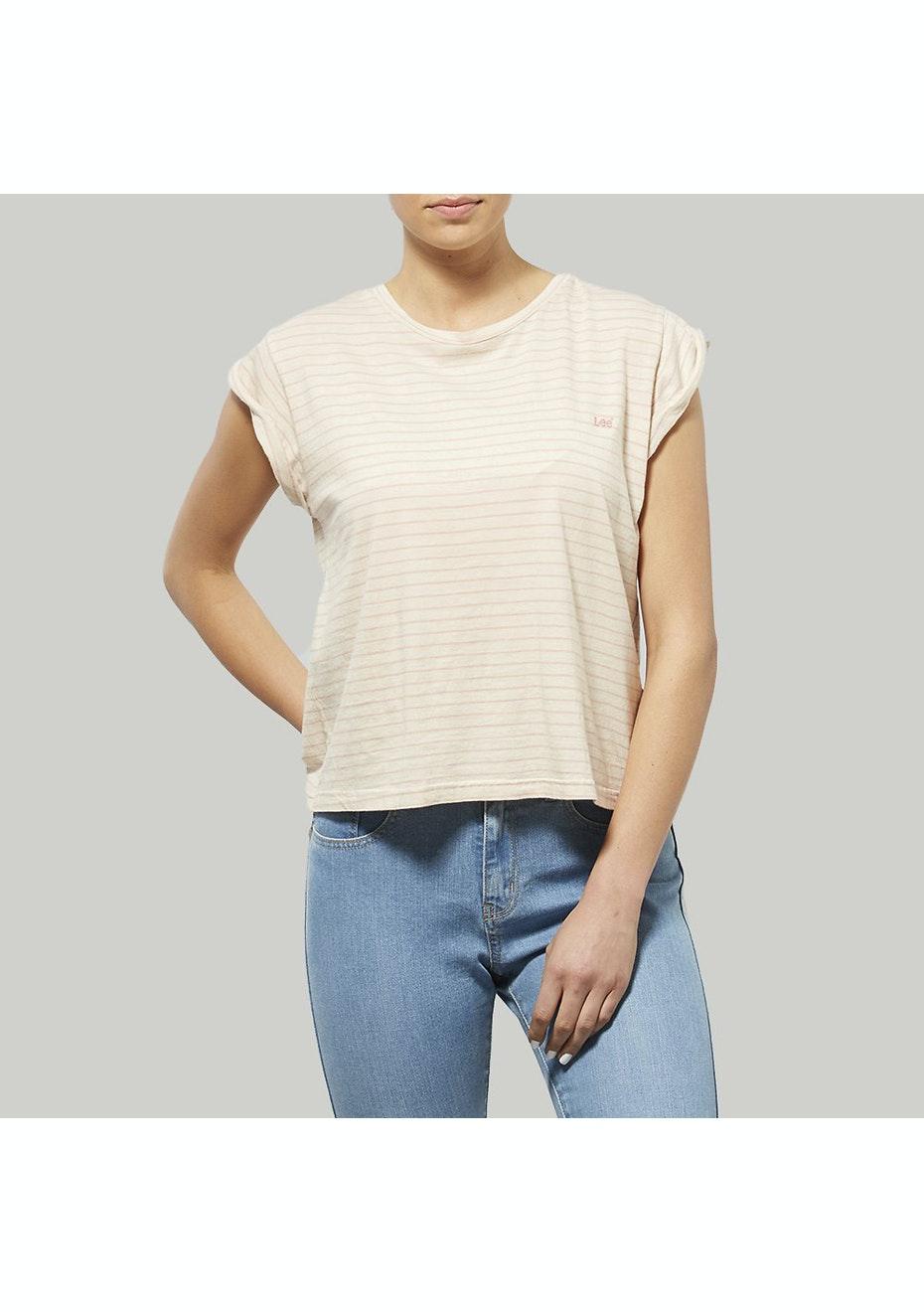 Lee Womens - No Brainer Stripe Tee Blush / Stone