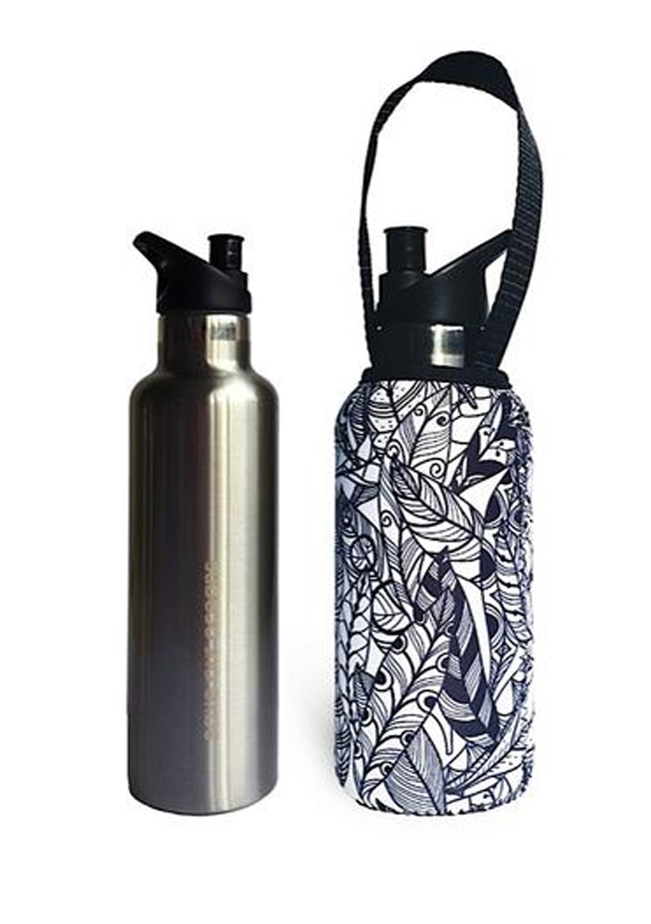 BBBYO - Thermal Traveller Bottle+ Carry Cover (Feather  Print) )- sip cap - 500 ml Silver