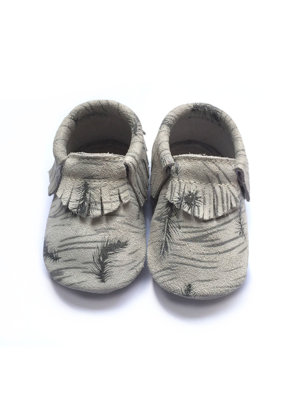 Baby  Leather Shoes - Grey/Black Feather