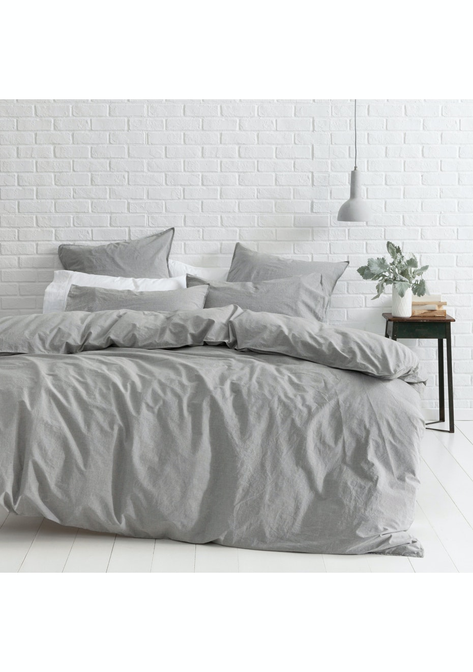 Canningvale - Vintage Softwash Cotton Euro Pillow Case 2 Pack Smokey Grey Melange