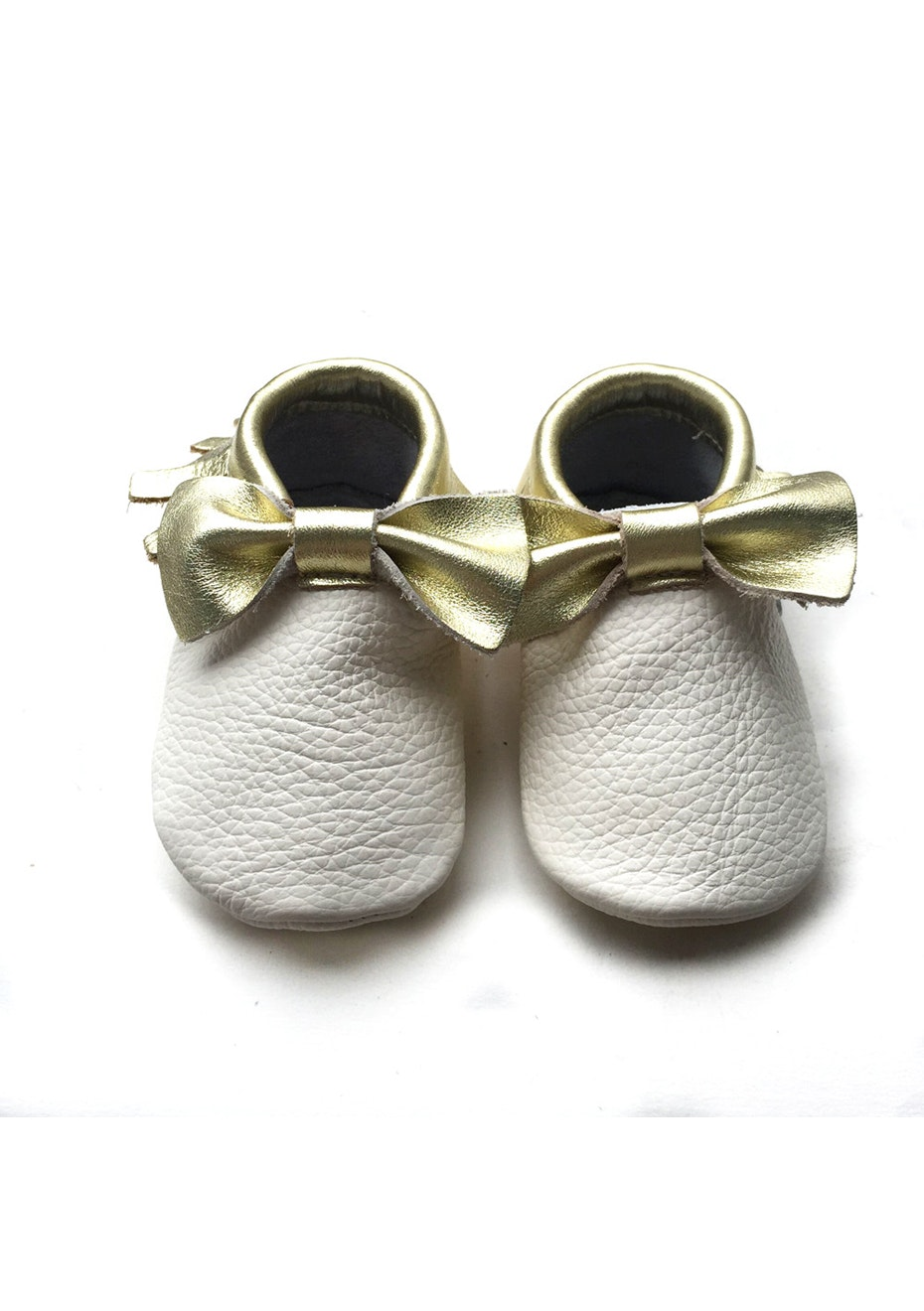 Baby  Leather Shoes - White/Gold Bow