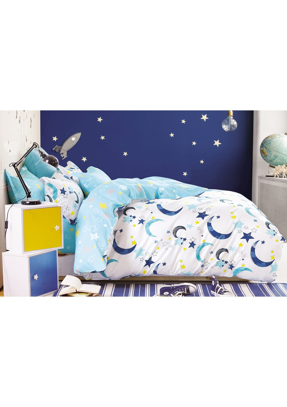 Galaxy Quilt Cover Set - Reversible Design - 100% Cotton - Single Bed