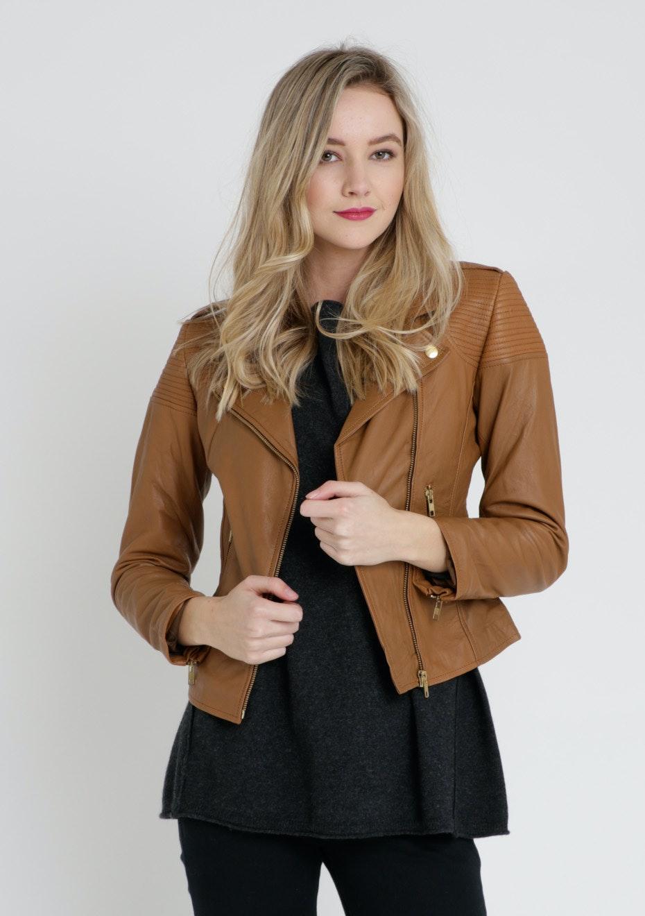 Zayira - Moto Moto Leather Jacket Brown  - Cognac