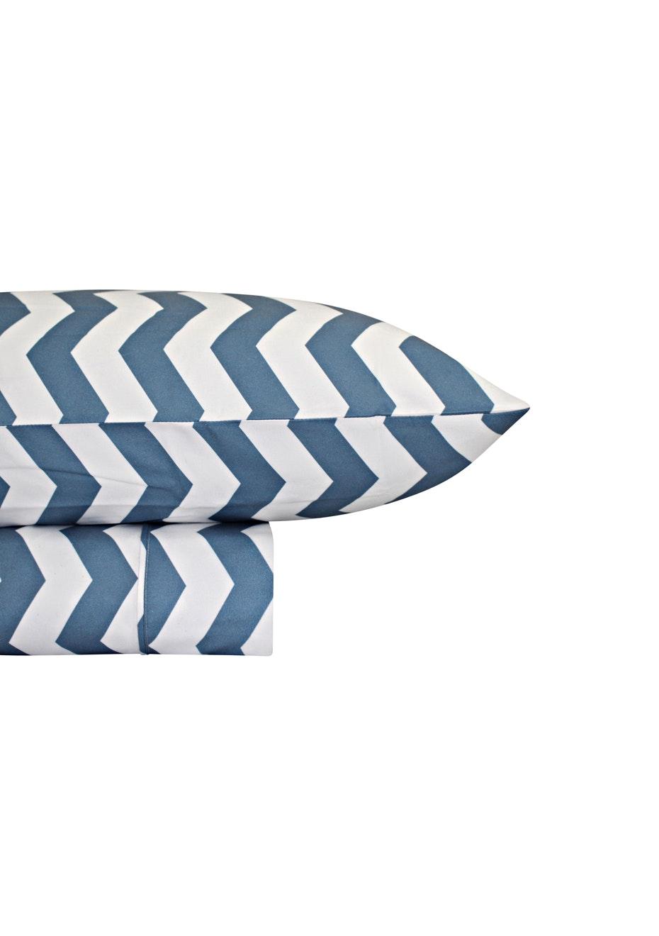 Thermal Flannel Sheet Sets - Chevron Design - Bay Blue - King Bed