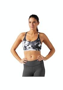 b22c8d0c86 Reebok Womens - Workout Ready Tri Back Printed Sports Bra - Black