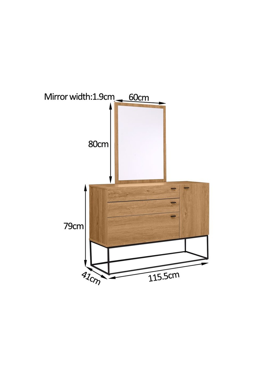 Wooden Dresser and mirror