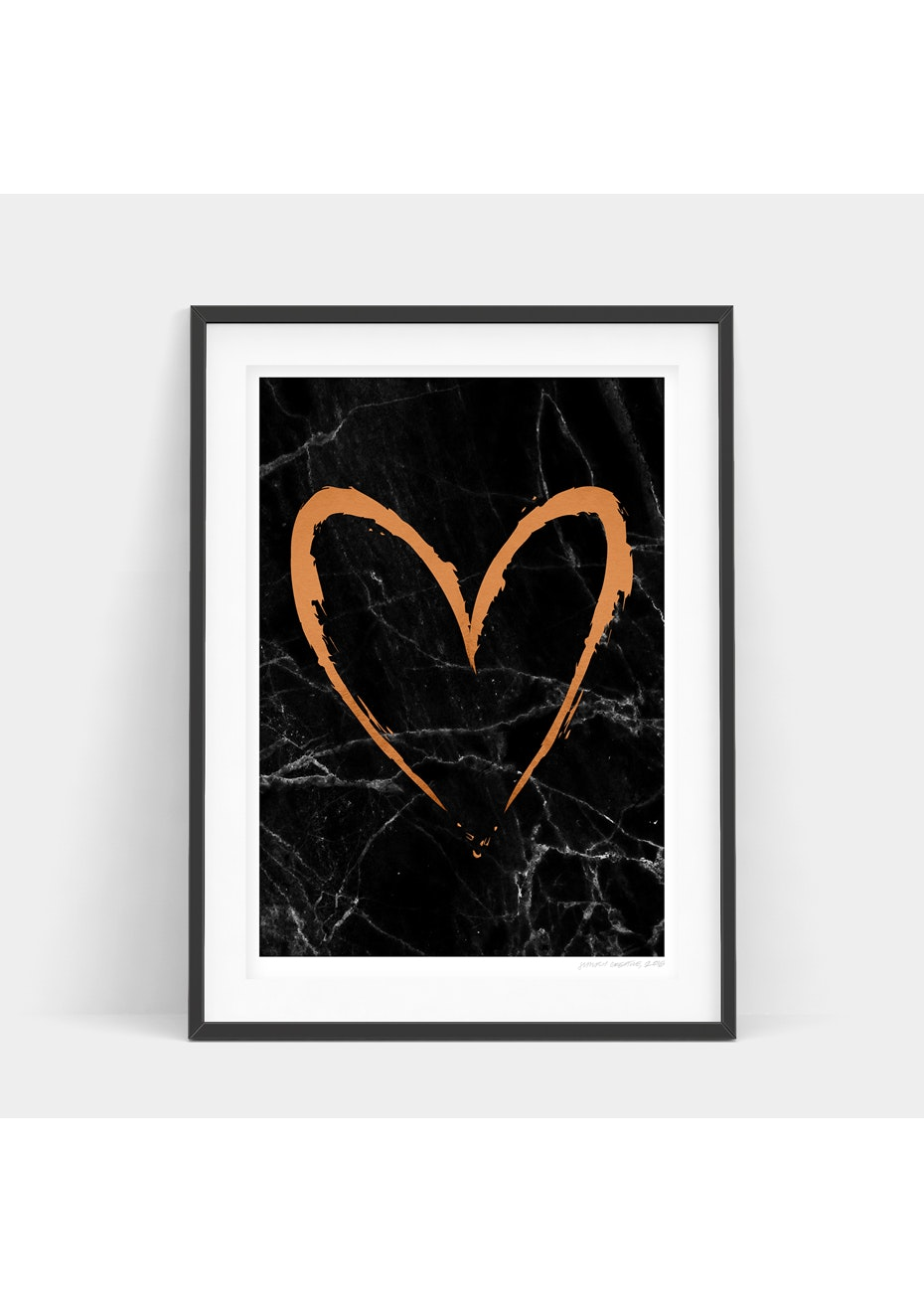Simply Creative - Dark Copper Heart - A4 Copper Foil Print
