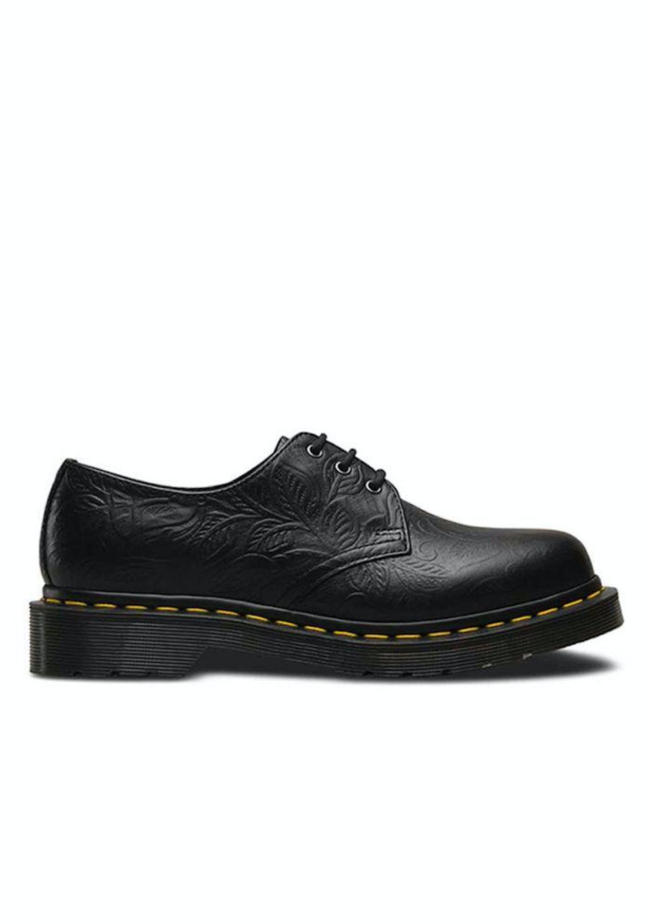 49afc5899caf Dr Martens - Womens 3 Eye Shoe - Black Floral Emboss - All New Dr Martens  50% Off - Onceit