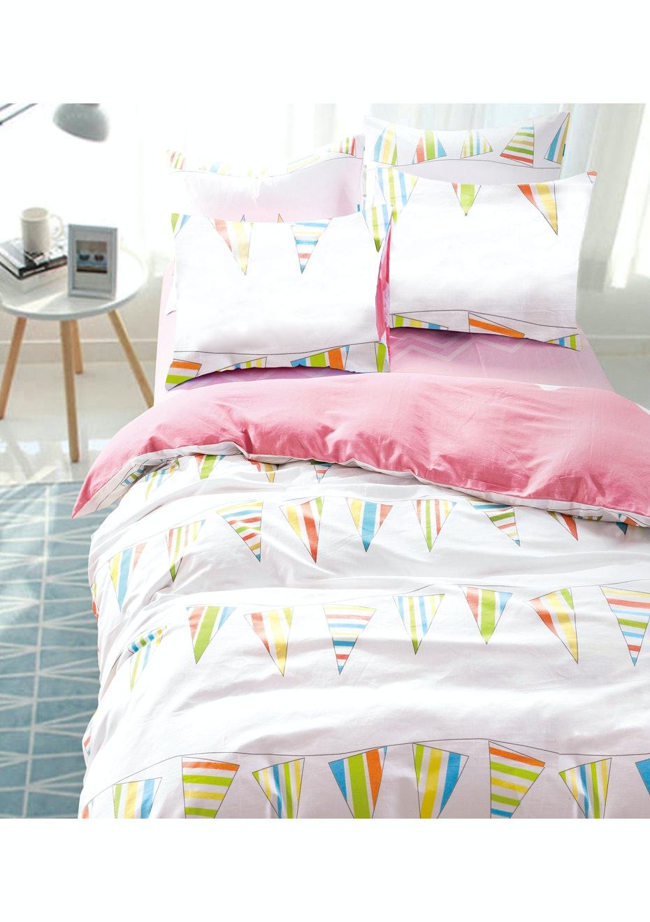Carnival Quilt Cover Set - Reversible Design - 100% Cotton Single Bed