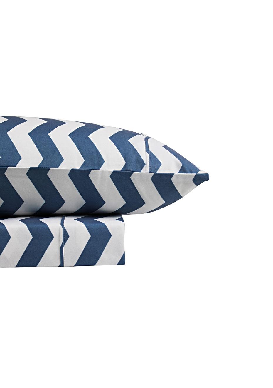 Thermal Flannel Sheet Sets - Chevron Design - Bay Blue - King Single Bed