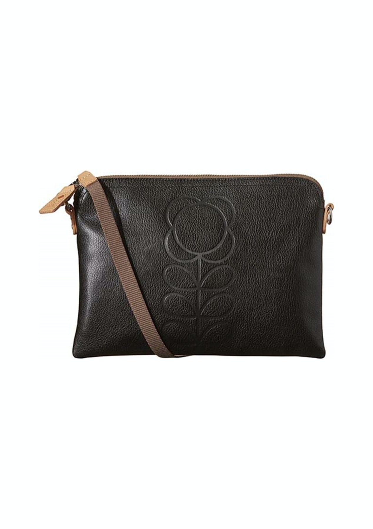 26b551481792 Orla Kiely - Flower Stem Embossed Leather Travel Pouch - Black - Orla Kiely  Up to 60% off - Onceit